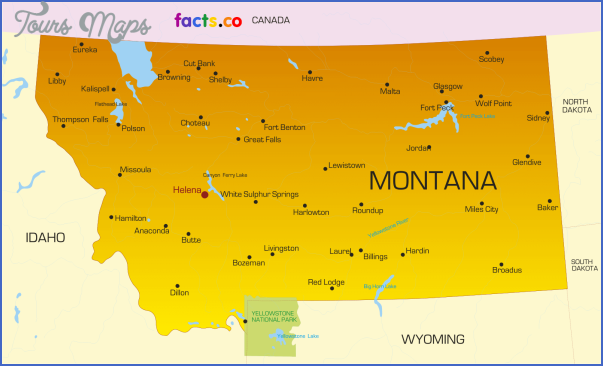 MAP OF MONTANA WITH CITIES   ToursMaps.®