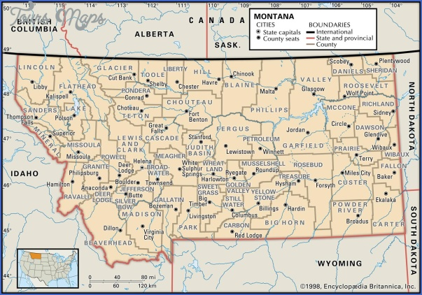MONTANA MAP WITH CITIES AND TOWNS Map Travel Holiday Vacations - Wyoming map of cities and towns