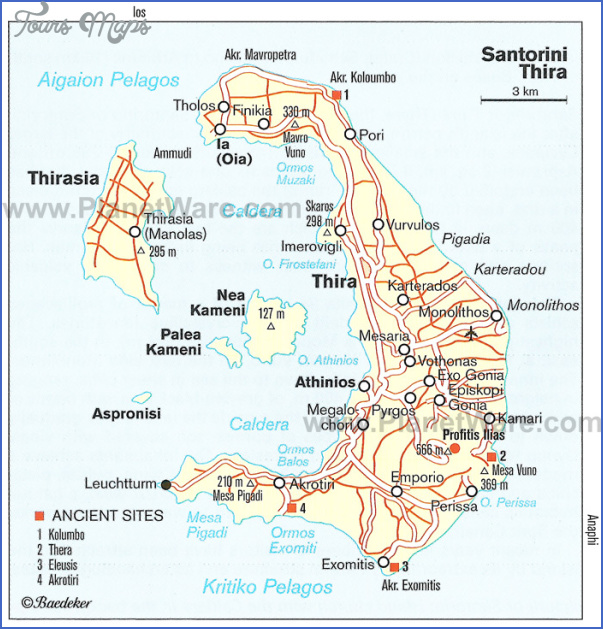 santorin map Greece Map For Tourists