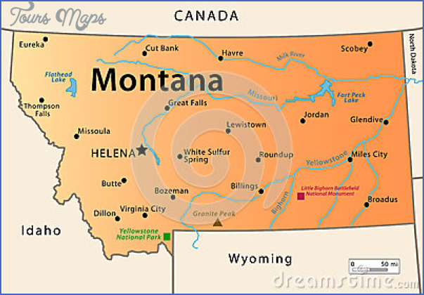 state map of montana usa 7 STATE MAP OF MONTANA USA