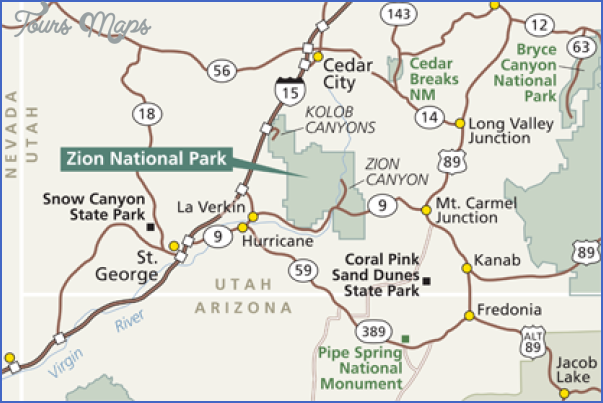 zion national park map tourist attractions 0 Zion National Park Map Tourist Attractions