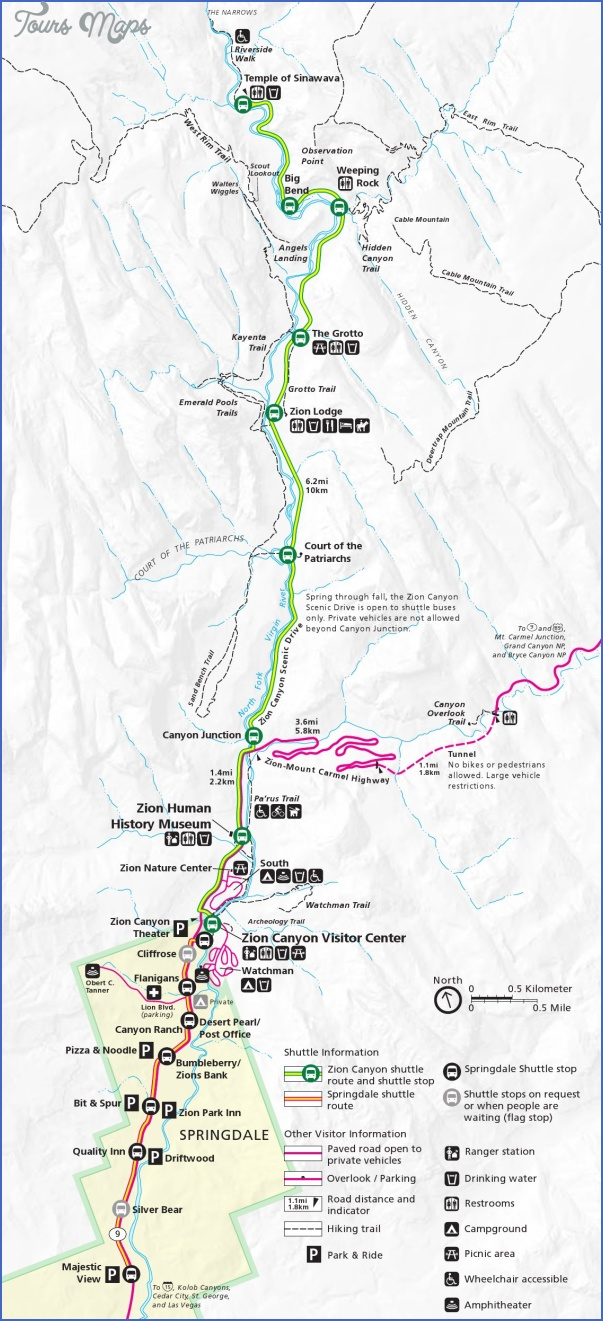 zion national park map tourist attractions 3 Zion National Park Map Tourist Attractions