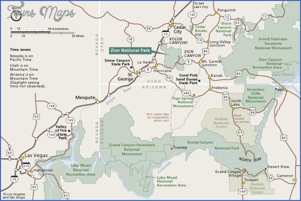 zion national park map 4 Zion National Park Map