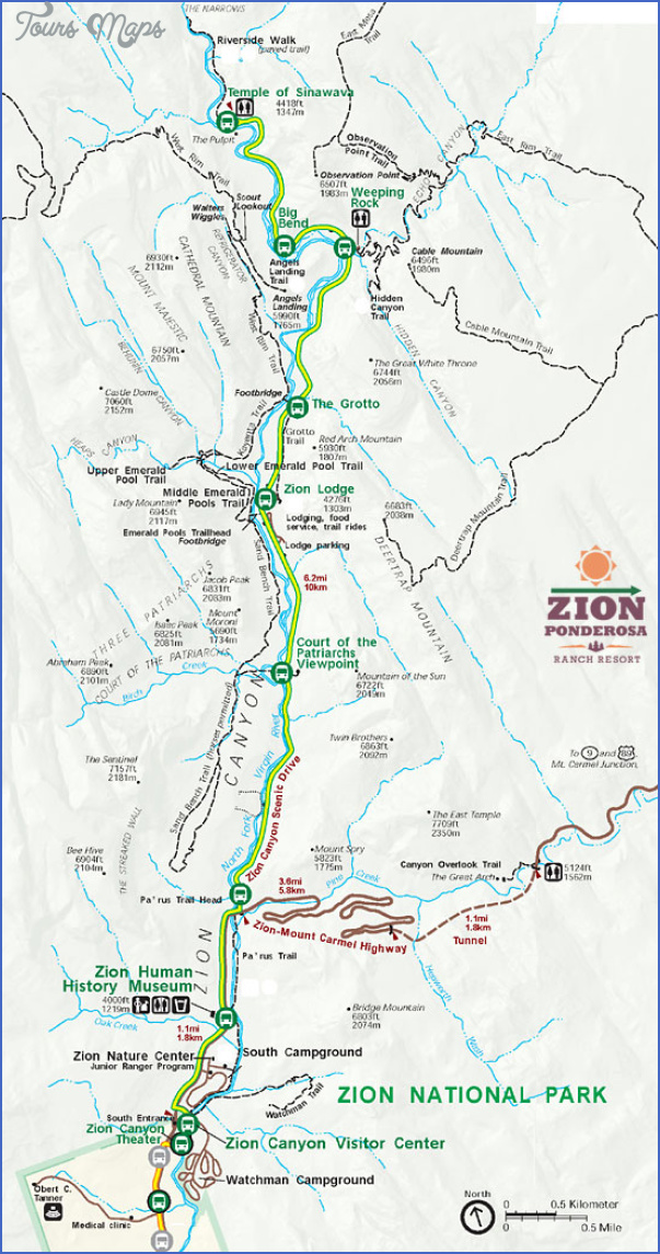 zion national park map 7 Zion National Park Map