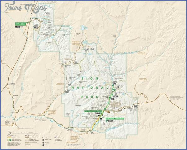 zion national park us map 1 ZION NATIONAL PARK US MAP