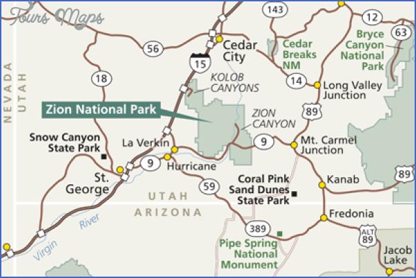 zion park map utah 8 ZION PARK MAP UTAH