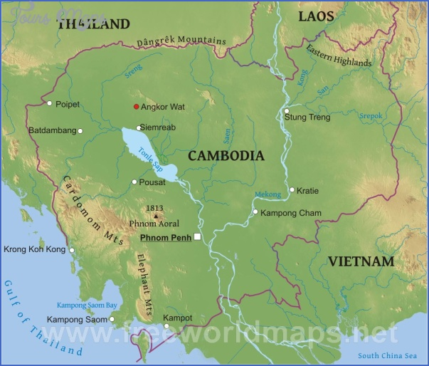 cambodia map physical Cambodia Map