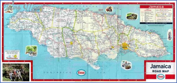 jamaica road map Jamaica Map and Flag