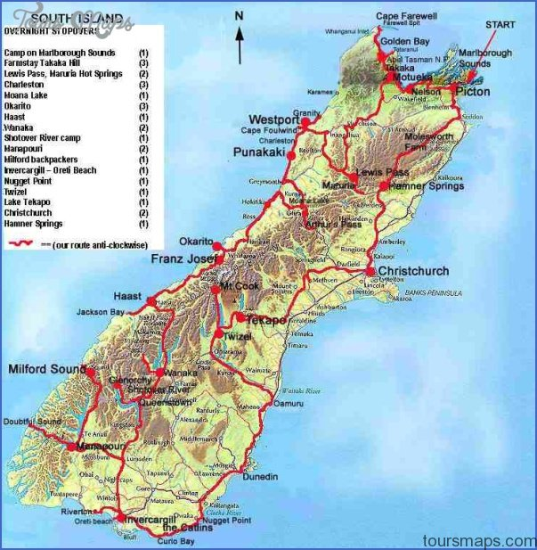 New Zealand Map South.Map Of South Island Of New Zealand Toursmaps Com