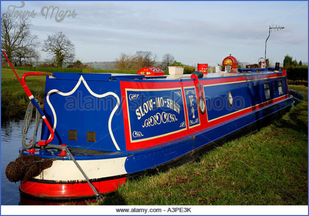 a colourful narrow boat moored on the peak forest canal near marple a3pe3k Peak Forest Canal Fishing