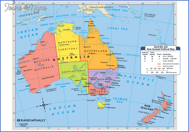 Australia And New Zealand Physical Map ToursMapscom