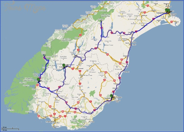 chcchcsouthmap1 Map South Island New Zealand