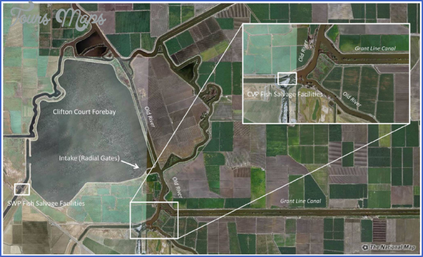 figure 2 aerial view of the layout of the two water diversion and fish salvage Grant Line Canal Fishing