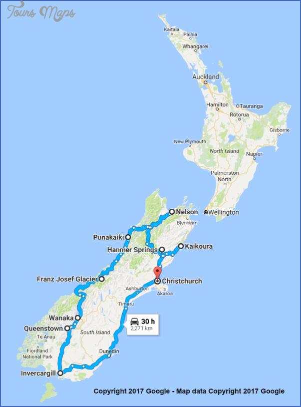 itin1routemapwithgooglecopyrightnote Google Maps New Zealand South Island