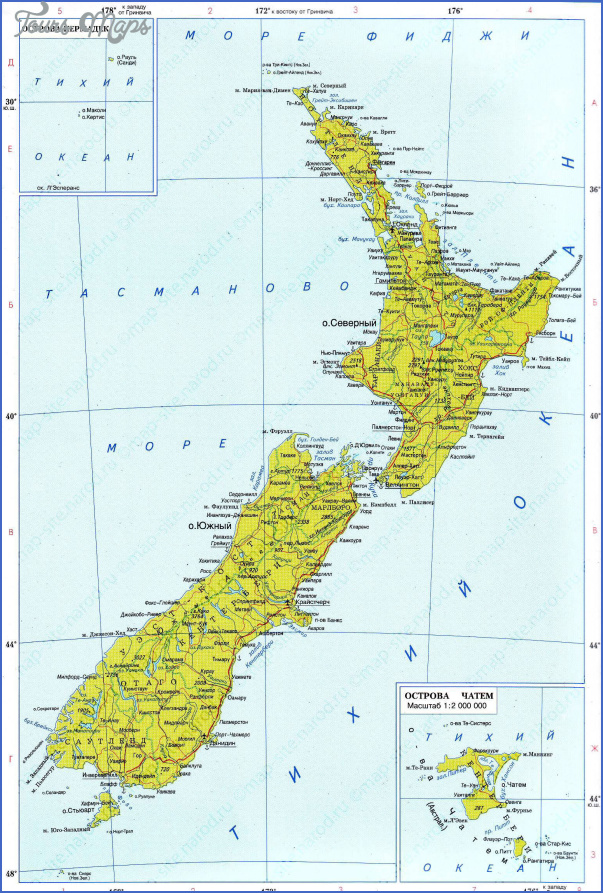 large detailed political map of new zealand with roads and cities in russian for free Detailed Map Of New Zealand