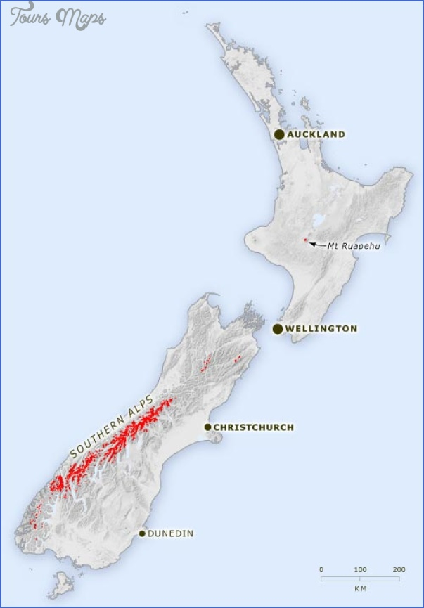 Southern Alps New Zealand Map - ToursMaps.com ®