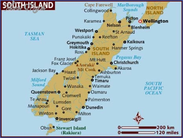 map of south island 1 Map South Island New Zealand