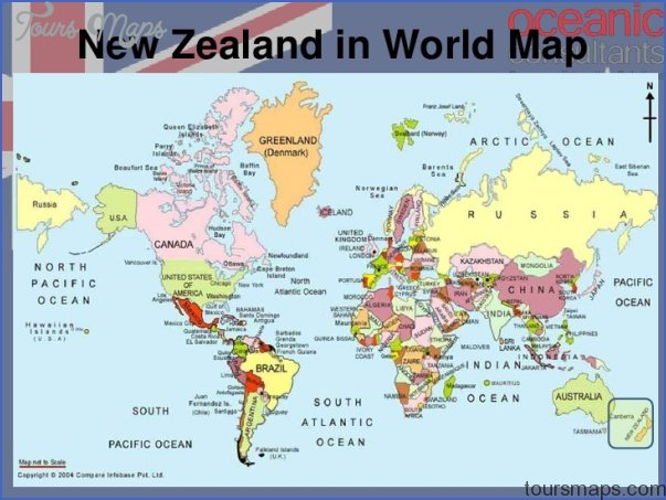 New Zealand Map On World.World Map With New Zealand Toursmaps Com