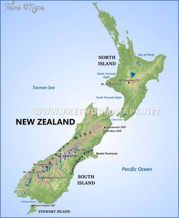 new zealand physical map Map New Zealand