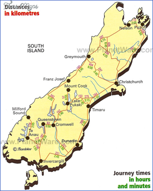 new zealand south island journey times map 1 New Zealand Map South Island