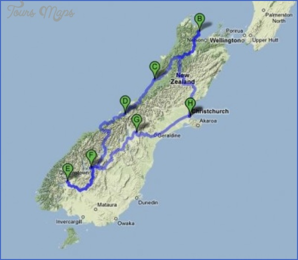 new zealand south island map 400x349 New Zealand Google Maps