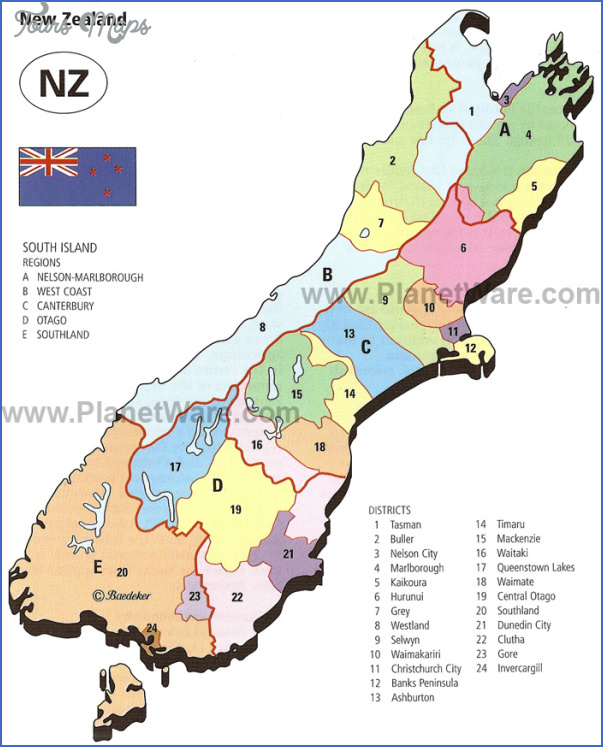 new zealand south island regions and districts map Map Of South Island Of New Zealand