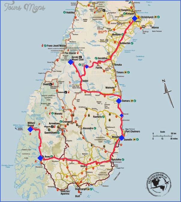 new zealand south island route part1 2 New Zealand Map South Island