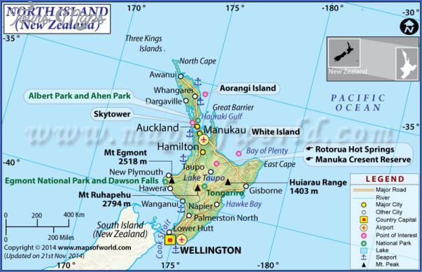 north island map 1 New Zealand North Island Map