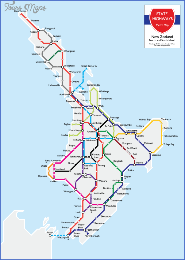New Zealand North Island Road Map.North Island New Zealand Map Toursmaps Com
