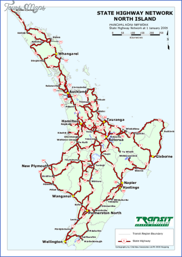 north island state highway map mediumthumb pdf New Zealand North Island Map
