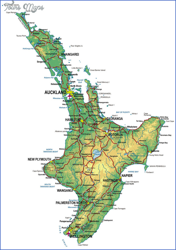 north island physical Detailed Map Of New Zealand