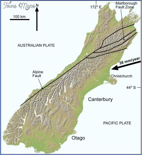otago070571 Southern Alps New Zealand Map