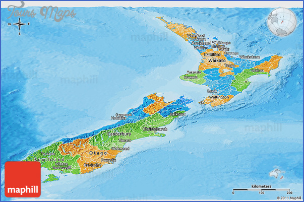 political panoramic map of new zealand New Zealand Political Map