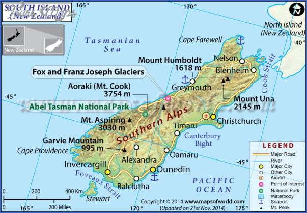 south island map 1 Map Of South Island Of New Zealand