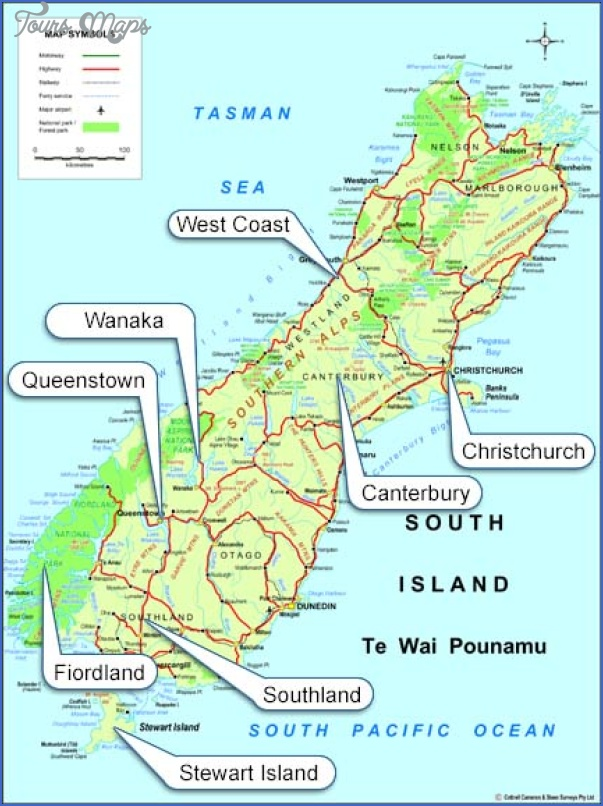 south island South New Zealand Map