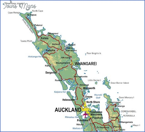 upper nth island Detailed Map Of New Zealand