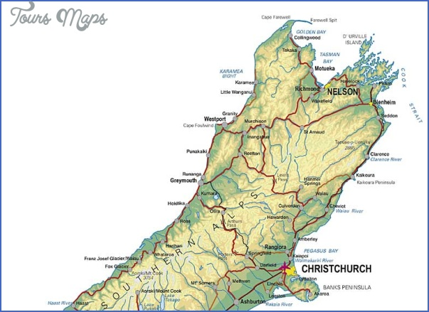 upper sth island Christchurch New Zealand Map