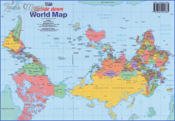 upside down world map World Map With New Zealand