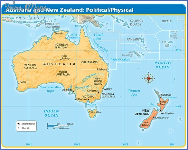 Australia And New Zealand Map Map Travel Holiday Vacations