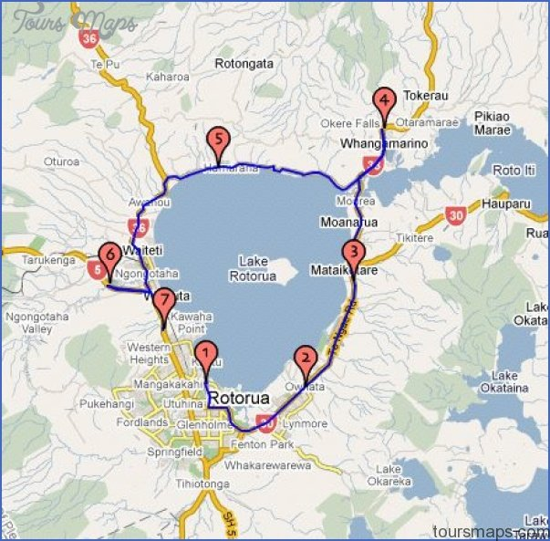 Rotorua New Zealand Map.New Zealand Map Tourist Attractions Toursmaps Com