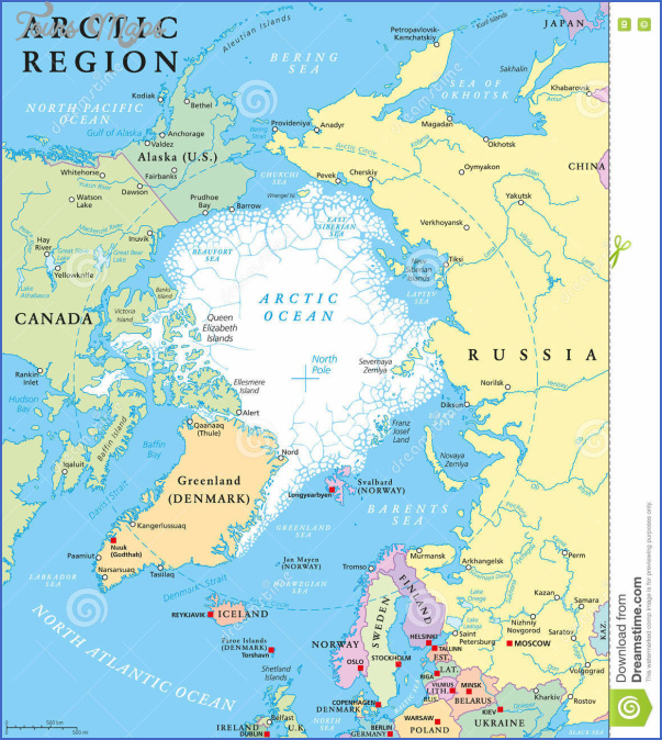 arctic region political map countries capitals national borders important cities rivers lakes ocean average 72899097 Map Of Arctic Region