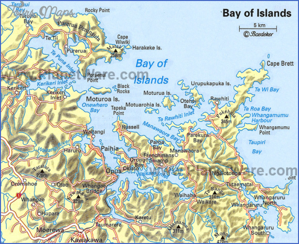 bay of islands map New Zealand Map Tourist Attractions