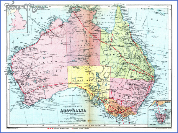 large detailed road and administrative old map of australia 1936 Australia Administrative Map