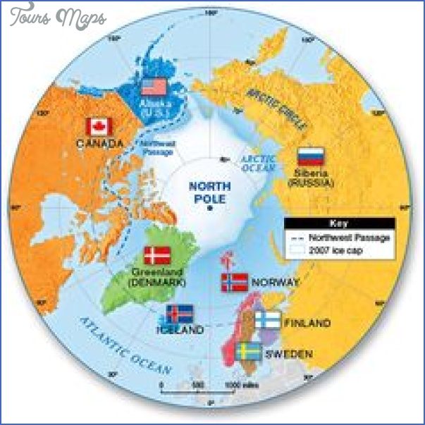 Arctic Circle On World Map.World Map With Arctic Circle Toursmaps Com