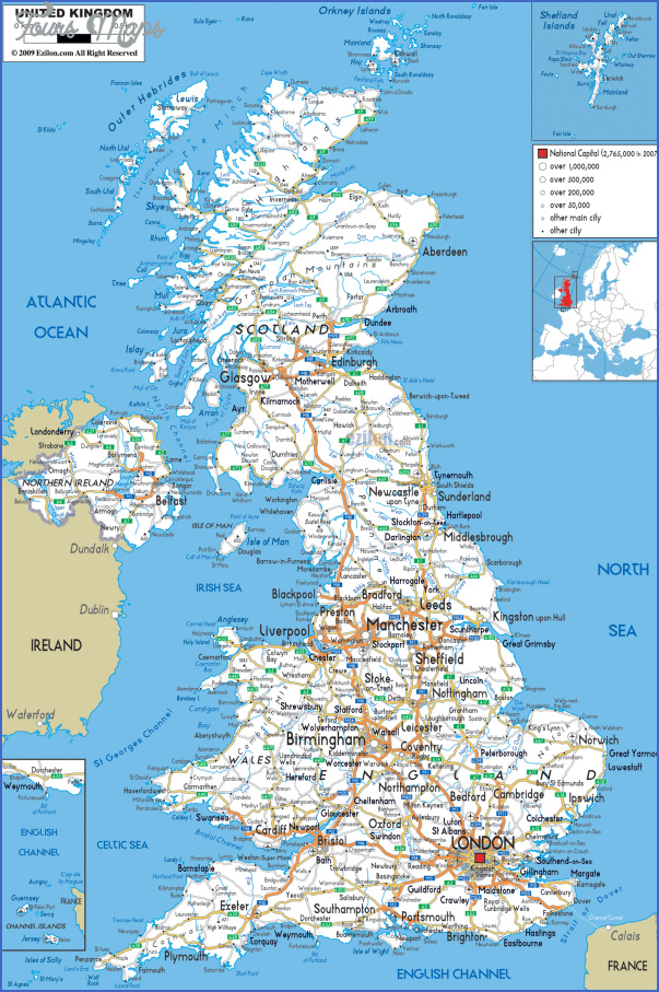 detailed road map of united kingdom with all cities and airports England Map Detailed