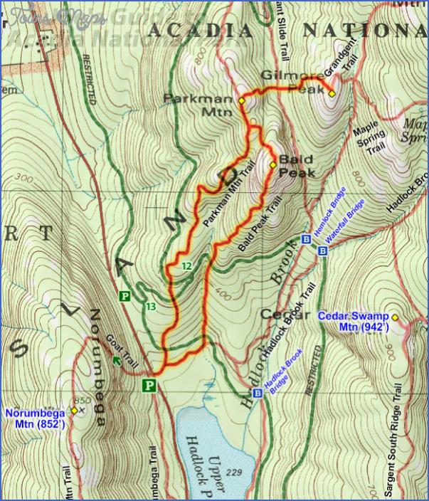 acadia national park hiking map 5 Acadia National Park Hiking Map