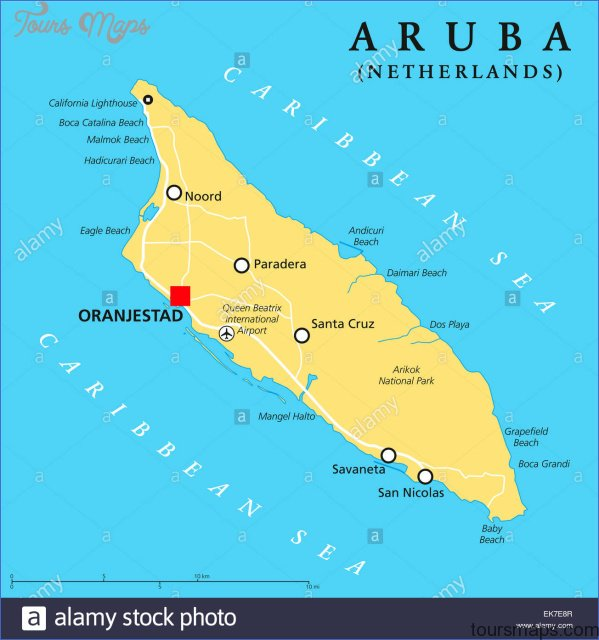 aruba map with cities  1 Aruba Map With Cities
