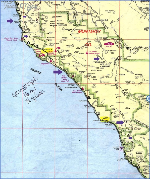 big sur hikes map 12 Big Sur Hikes Map