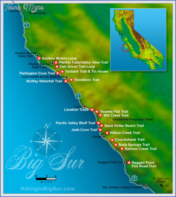 big sur hikes map 8 Big Sur Hikes Map