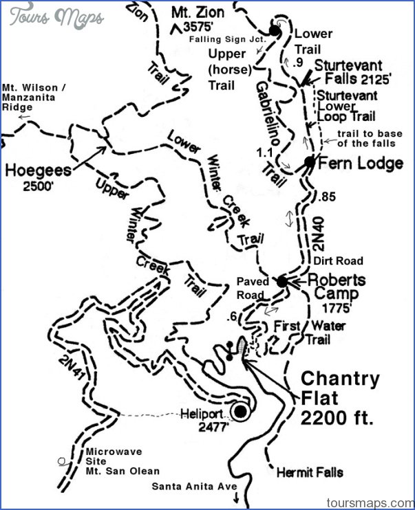 chantry flats hiking trails map 1 Chantry Flats Hiking Trails Map
